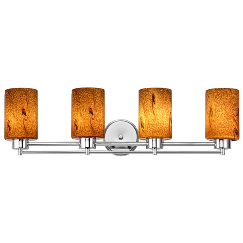 Design Classics Lighting Modern Bathroom Light with Brown Art Glass - Four Lights 704-26 GL1001C