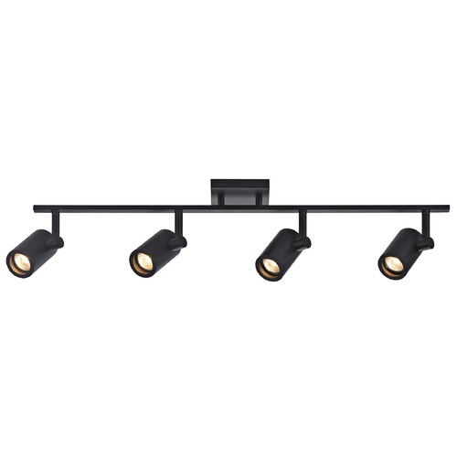 Recesso Lighting by Dolan Designs Track Light with 4 Cylinder Spot Lights - Black - GU10 Base TR0104-BK
