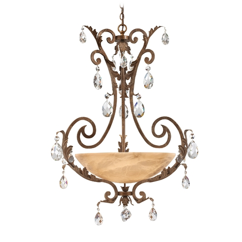 Frederick Ramond Pendant Light with Alabaster Glass in French Marble Finish FR44103FRM