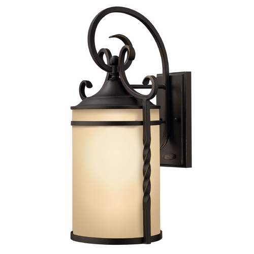 Hinkley Lighting Outdoor Wall Light with Amber Glass in Olde Black Finish 1145OL-GU24