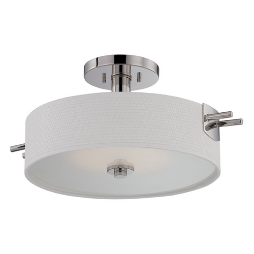 Nuvo Lighting Modern LED Semi-Flushmount Light with White Shade in Polished Nickel Finish 62/194