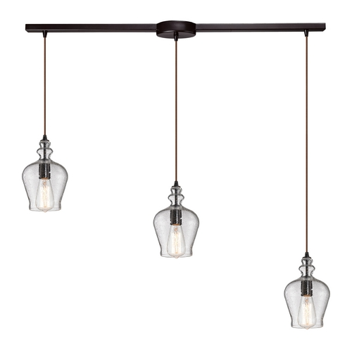 Elk Lighting Multi-Light Pendant Light with Clear Glass and 3-Lights 60066-3L