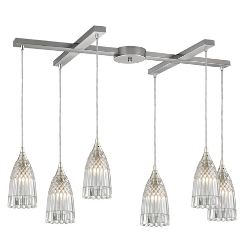 Elk Lighting Elk Lighting Kersey Satin Nickel Multi-Light Pendant with Bowl / Dome Shade 10458/6