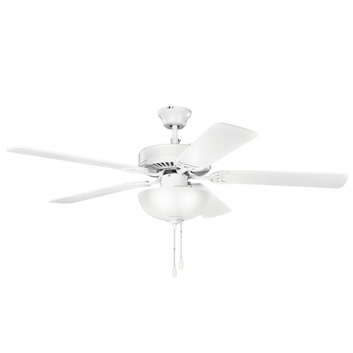 Kichler Lighting Kichler Lighting Basics Matte White Ceiling Fan with Light 403MWH