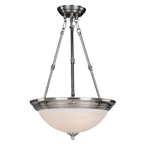 Maxim Lighting Maxim Lighting Essentials Satin Nickel Pendant Light with Bowl / Dome Shade 5846MRSN
