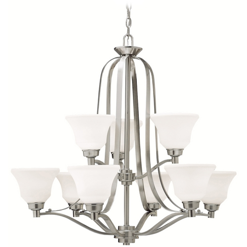 Kichler Lighting Kichler Chandelier with White Glass in Brushed Nickel Finish 1784NI