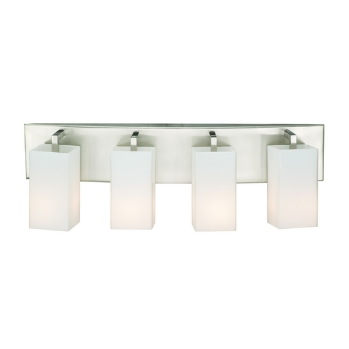 Philips Lighting Modern Bathroom Light with White Glass in Satin Nickel Finish F451736