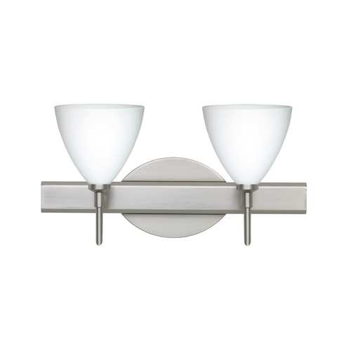 Besa Lighting Modern Bathroom Light with White Glass in Satin Nickel Finish 2SW-177907-SN