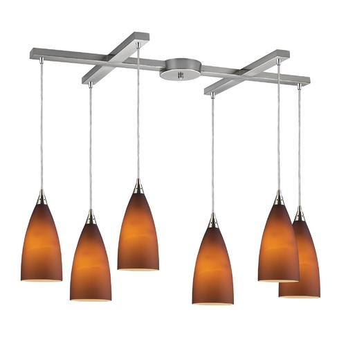 Elk Lighting Modern Multi-Light Pendant Light with Brown Glass and 6-Lights 2582/6