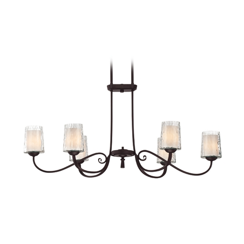 Quoizel Lighting Chandelier with White Glass in Dark Cherry Finish ADS639DC