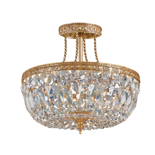 Crystorama Lighting Crystal Semi-Flushmount Light in Olde Brass Finish 119-12-OB-CL-SAQ