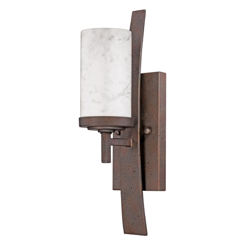Quoizel Lighting Wall Sconce Light with White Onyx Cylinder Shade and Curved Band KY8701IN