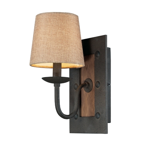 Elk Lighting Sconce Wall Light with Beige / Cream Shade in Vintage Rust Finish 14130/1