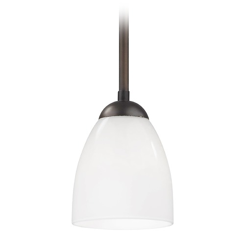 Design Classics Lighting Bronze Mini-Pendant Light with Opal White Bell Glass Shade 581-220 GL1024MB