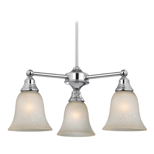 Design Classics Lighting Chandelier with Brown Art Glass in Chrome Finish 598-26 GL9222-CAR