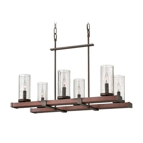 Frederick Ramond Pendant Light with Clear Glass in Rustic Iron Finish FR40206IRN
