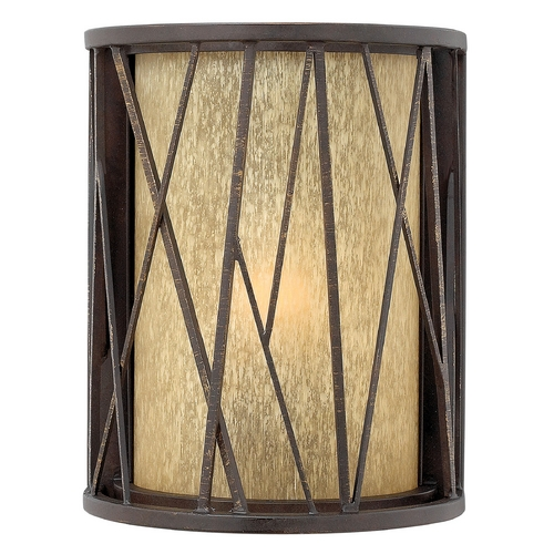Hinkley Lighting Outdoor Wall Light with Amber Glass in Regency Bronze Finish 1150RB-GU24