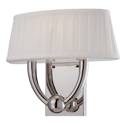 Nuvo Lighting LED Sconce Wall Light with White Shade in Polished Nickel Finish 62/195