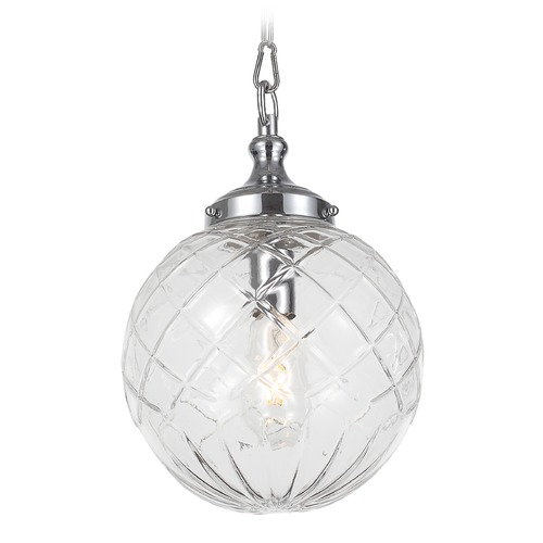 Crystorama Lighting Crystorama Lighting Essex Polished Chrome Mini-Pendant Light with Globe Shade 210-CH