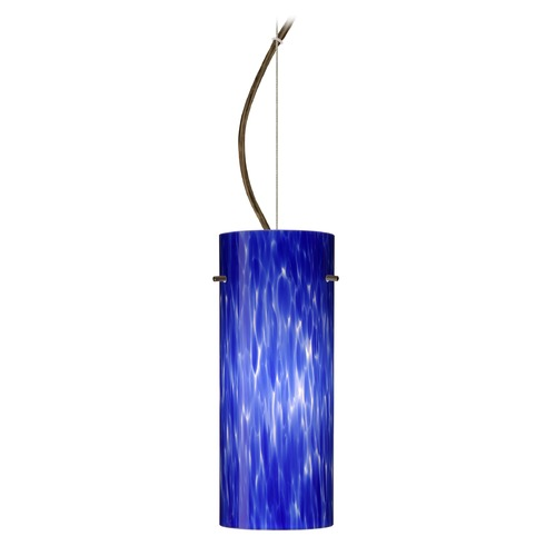 Besa Lighting Besa Lighting Stilo Bronze LED Pendant Light with Cylindrical Shade 1KX-412386-LED-BR
