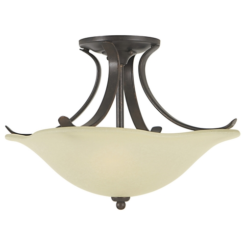 Home Solutions by Feiss Lighting Semi-Flushmount Light with White Glass in Grecian Bronze Finish SF213GBZ