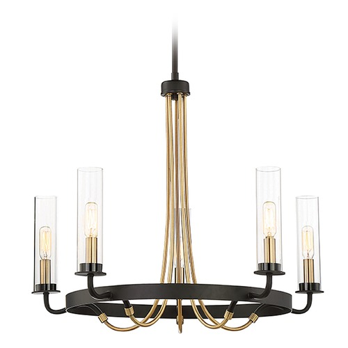 Savoy House Mid-Century Modern Chandelier Black / Brass Kearney by Savoy House 1-8071-5-51