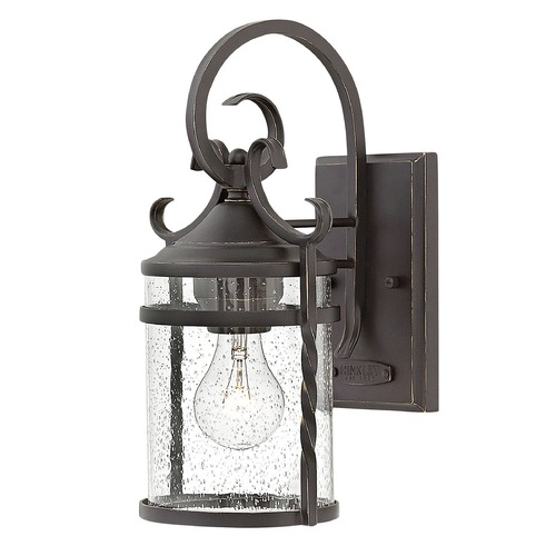 Hinkley Traditional Seeded Glass Black Outdoor Wall Light by Hinkley 1140OL-CL