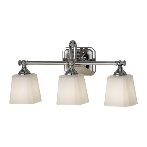 Feiss Lighting Bathroom Light with White Glass in Polished Nickel Finish VS19703-PN