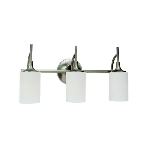 Sea Gull Lighting Modern Bathroom Light with White Glass in Brushed Nickel Finish 44954-962