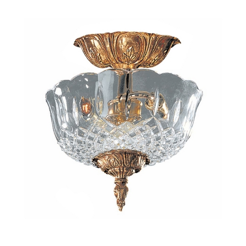 Crystorama Lighting Semi-Flushmount Light with Clear Glass in Olde Brass Finish 55-CT-OB