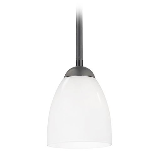 Design Classics Lighting Modern Mini-Pendant Light with Opal White Bell Glass Shade 581-07  GL1024MB