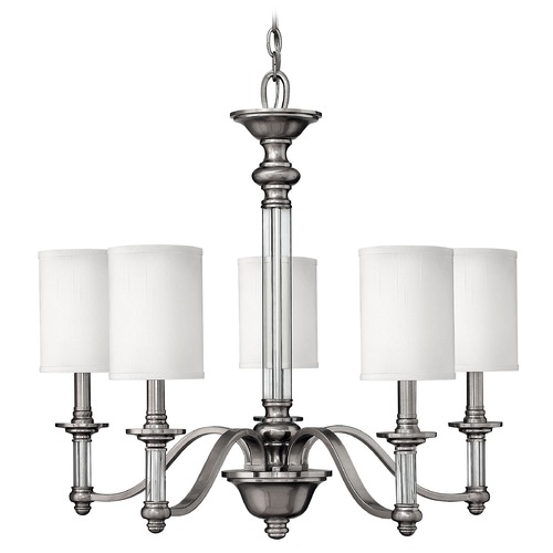 Hinkley Lighting Chandelier with White Shades in Brushed Nickel Finish 4795BN