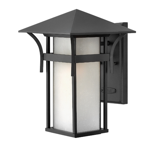 Hinkley Lighting Etched Seeded Glass Outdoor Wall Light Black Hinkley Lighting 2574SK