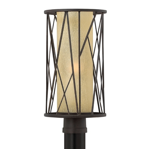 Hinkley Lighting Post Light with Amber Glass in Regency Bronze Finish 1151RB-GU24