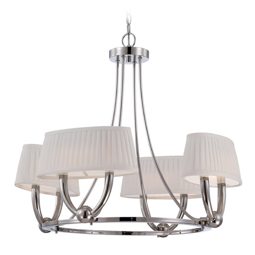 Nuvo Lighting LED Chandelier with White Shades in Polished Nickel Finish 62/196