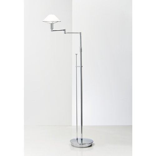 Holtkoetter Lighting Holtkoetter Modern Swing Arm Lamp with White Glass in Chrome Finish 9434 CH TRW