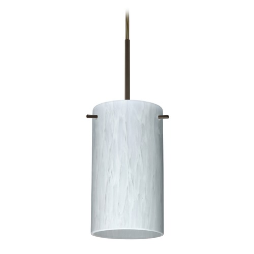 Besa Lighting Besa Lighting Stilo Bronze LED Mini-Pendant Light with Cylindrical Shade 1BT-440419-LED-BR