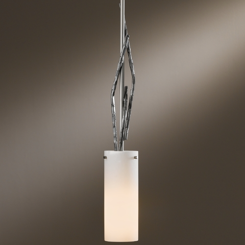 Hubbardton Forge Lighting Hubbardton Forge Lighting Brindille Burnished Steel Mini-Pendant Light with Cylindrical Shade 18667-202-08-ZX336
