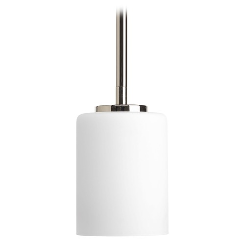 Progress Lighting Progress Lighting Replay Polished Nickel Mini-Pendant Light with Cylindrical Shade P5170-104