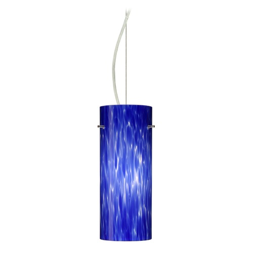 Besa Lighting Besa Lighting Stilo Satin Nickel LED Pendant Light with Cylindrical Shade 1KX-412386-LED-SN