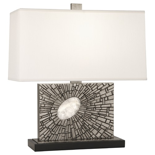 Robert Abbey Lighting Robert Abbey Lighting Goliath Table Lamp with Rectangular Pearl Dupioni Silk Shade S416
