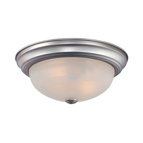 Quoizel Lighting Flushmount Light with White Glass in Brushed Nickel Finish MNR1615BN
