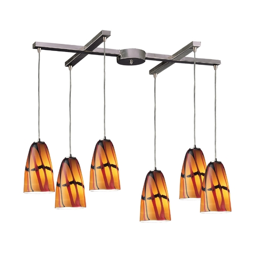 Elk Lighting Modern Multi-Light Pendant Light with Multi-Color Glass and 6-Lights 541-6JAS