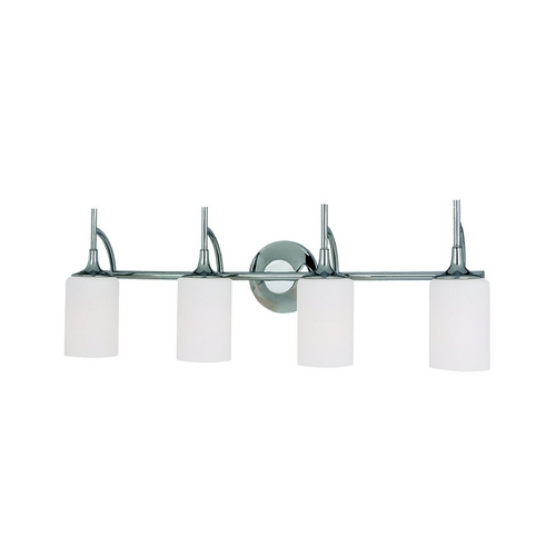 Sea Gull Lighting Modern Bathroom Light with White Glass in Chrome Finish 44955-05