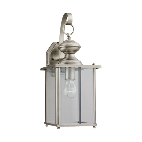 Sea Gull Lighting Outdoor Wall Light with Clear Glass in Antique Brushed Nickel Finish 8458-965
