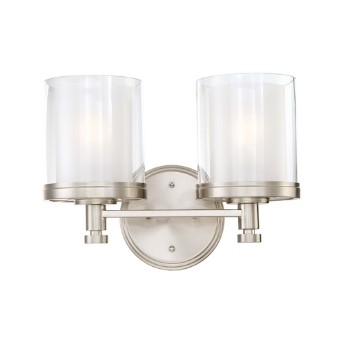 Nuvo Lighting Modern Bathroom Light with White Glass in Brushed Nickel Finish 60/4642