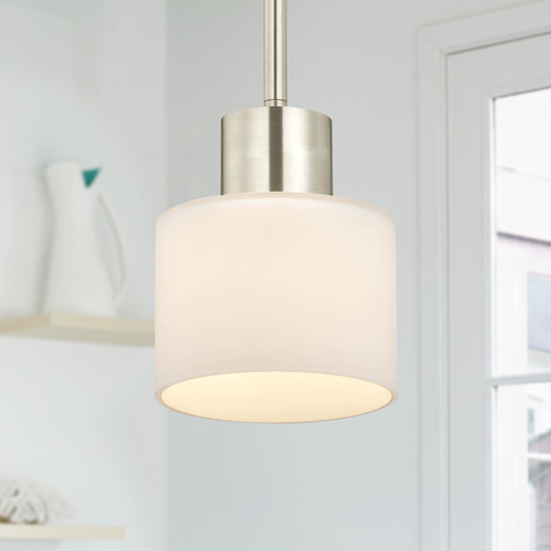 Design Classics Lighting Mai Satin Nickel Mini-Pendant Light with Cylindrical Shade 1032-09
