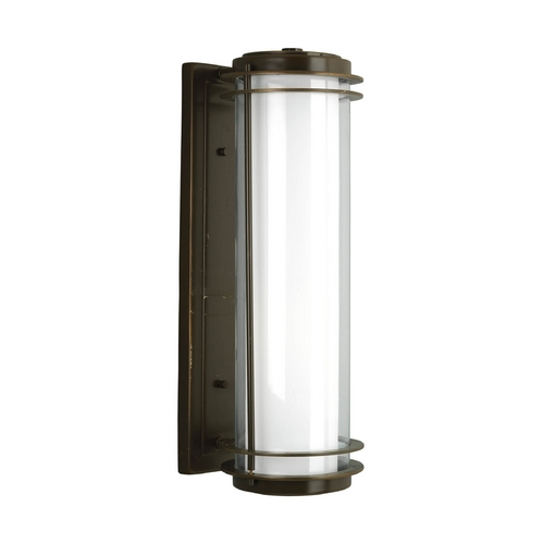 Progress Lighting Progress Modern Oil Rubbed Bronze Outdoor Wall Light with White Glass P5899-108