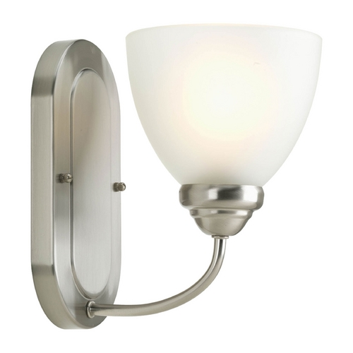 Progress Lighting Progress Sconce Wall Light with White Glass in Brushed Nickel Finish P2913-09