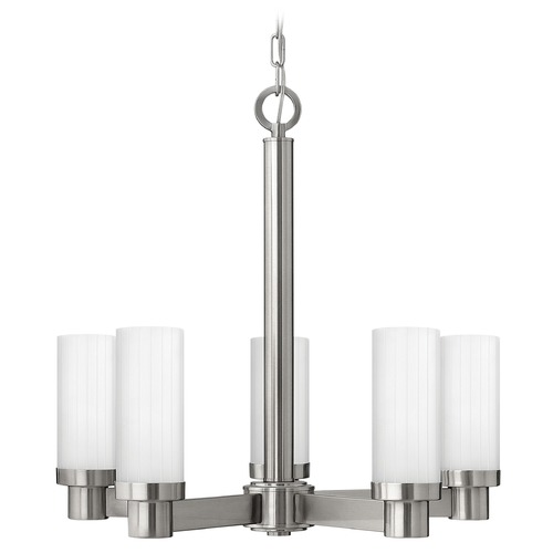 Hinkley Chandelier with White Cylinder Glass in Brushed Nickel Finish 4975BN